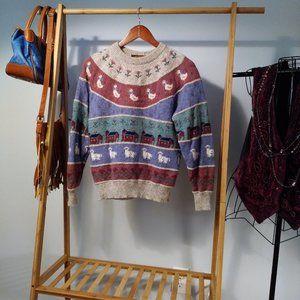 Wool Fair Isle Prairie Novelty Floral Sweater M